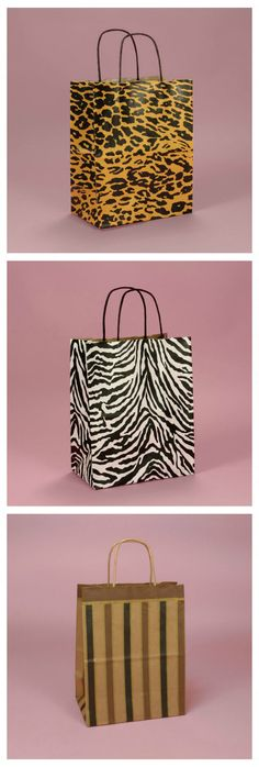 Printed Gift Bags - Paper printed gift bags in leopard print, zebra print, and stripes are a quick and easy way to gift wrap. Just add tissue paper and done! #giftbags