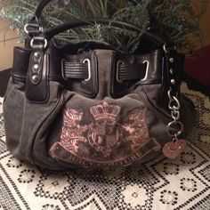 49242d89a93b Authentic Juicy Couture hand bag excellent Authentic Juicy couture hand bag.  Gray velour with pink