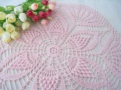 Crochet Orchid Pink Round Doily Water Lily Pattern Lace Tablecloth by DoSymphony