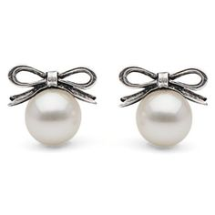 Freshwater Pearl with Bow Stud Earrings ($165) ❤ liked on Polyvore featuring jewelry, earrings, accessories, brincos, pearls, 14k earrings, bow stud earrings, round earrings, bow earrings and 14 karat white gold earrings