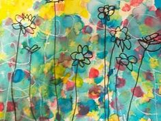 Made by first grader by drawing first w/ a white crayon, then daubing on watercolor, then finally adding flowers w/ marker. Genius!