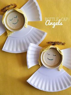 Bottle Cap Angels Christmas Kids Craft