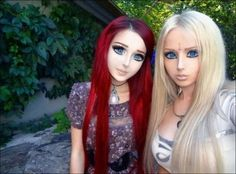 These are REAL People, they are not a cartoon image - Anastasiya Shpagina, the Ukraine's Anime Girl, and Valeria Lukyanova, the Real Barbie, meet face to face. This is just plain scary!!