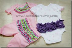 How to add ruffles to baby onesies with recycled t-shirts.