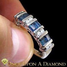 Sapphire Diamond Wedding Band Anniversary Ring White Gold 0 70ctw | eBay