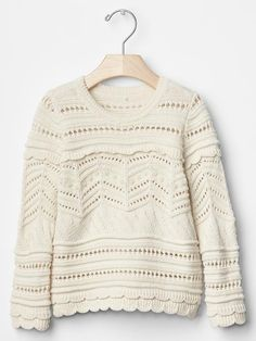 Girls Scalloped pointelle sweater
