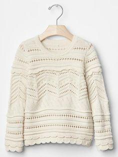 Scalloped pointelle sweater