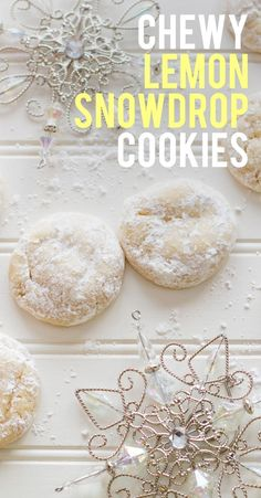 Chewy Lemon Snowdrop Cookies are perfectly little pillows of chewy lemonness. They look unassuming, but might be the best cookies ever made! Xmas Cookies, Brownie Cookies, Yummy Cookies, Lemon Cookies, Best Holiday Cookies, Snowball Cookies, Lemon Desserts, Lemon Recipes, Delicious Desserts