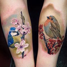 Blue Tit & Robin by Nancy Mietzi.  http://tattooideas247.com/blue-tit-robin/