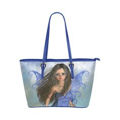 Fairy Bleu Flight Leather Tote Bag Small (Model 1651) Small Bags 0f26b04a8b2b3