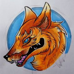 Old school style (?) fox to test some things. More @chameleonpens, colour pencils and Tiger pens.  #fox #oldschooltattoo #tattoo #chameleonpens #blue #orange #nofilter #DoingDotsWasAHugeMistake #karolwolf #wolfstudy