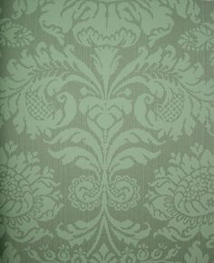 Romany Damask wallpaper for dining room- chair rail with lower paneling Hallway Wallpaper, Damask Wallpaper, Computer Wallpaper, Textures Patterns, Print Patterns, Blue Paint Colors, Green Home Decor, Downton Abbey, Interior Design Inspiration
