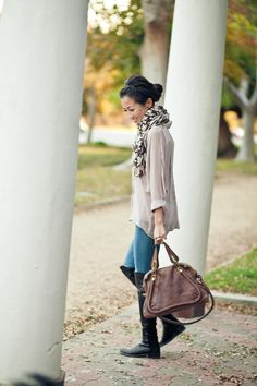 Top: Rory Beca, Jeans: Citizens of Humanity, Bag: Chloe 'Paraty'  Shoes: Stuart Weitzman '50/50′  Accessories: Chan Luu scarf, YSL 'Arty' ring