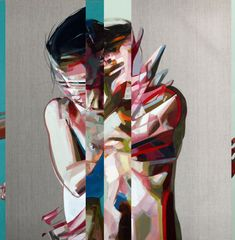 Simon Birch is a British-born artist who makes paintings of naked women, both very colorful and very graphic giving a sense, almost abstract representation. Simon Birch, Textile Sculpture, Abstract Sculpture, Inspirational Artwork, Inspiring Art, A Level Art, Glitch Art, Portrait Art, Portraits