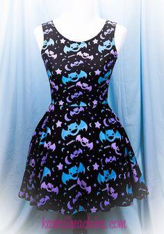 Graveyard Shift Printed Skater Dress (Bats, Moons, Stars)  Fairy Kei Pastel Goth Kawaii Plus Size