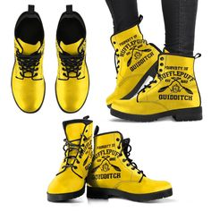 Harry Potter 4 House Quidditch Women's Leather Boots HP0108 - Hufflepuff / US9 (EU40)