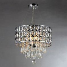 Warehouse of Tiffany 17-in W Chrome Crystal Accent Pendant Light with Metal Shade