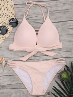 $18.99 Fuller Bust Molded Cups Bikini Set - PINK M