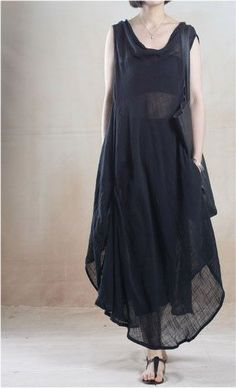 Linen Dress in Black if i go tiny house commune, im gonna garden in this and get much more creepy and eccentric
