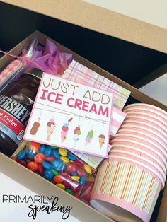 Ice cream themed parent volunteer gift small teacher gifts, teacher gift baskets, teacher presents Secret Sister Gifts, Diy Gifts Sister, Cadeau Surprise, Parent Volunteers, Little Gifts, Small Gifts For Friends, Small Teacher Gifts, Gifts For Ladies, Teacher Presents