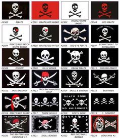 Pirate flags. Pirate Art, Pirate Life, Pirate Theme, Pirate Images, Homemade Pirate Costumes, Pirate History, Black Sails, Jolly Roger, Flags Of The World