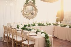 Tables - Love the head table and centerpiece!!! Even the hung mirror in the back!