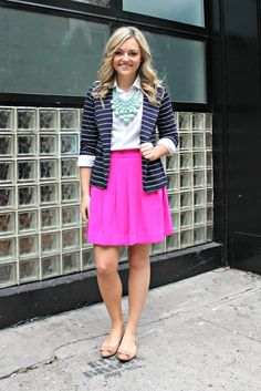 striped blazer, button down blouse, a-line skirt, nude flats