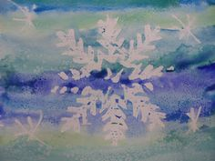 Snowflake Resists - winter art projects (white oil pastel for snowflake)