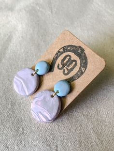 FREE SHIPPING! Handmade Polymer Clay Earrings Studs. Handmade Jewellery, Unique Jewelry, Handmade Gifts, Blue Gold, Purple, Handmade Polymer Clay, Polymer Clay Earrings, Jewelry Crafts, Studs