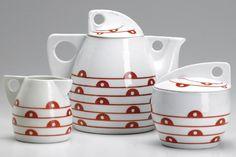 610: JUTTA SIKA / KOLOMON MOSER 3-pc. porcelain tea set : Lot 610