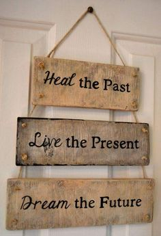 Past, Present And Future Wooden Block Hanging Wall Decoration