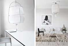 Airy beautiful simple pendants.  The pendant on the left is the Koushi Light by Mark Eden Schooleyn.  From the RAW Design blog.