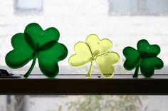 SHAMROCKS - 3 Fused Glass Shamrocks - Lucky You, just in time for St. Patricks Day. $30.00, via Etsy.