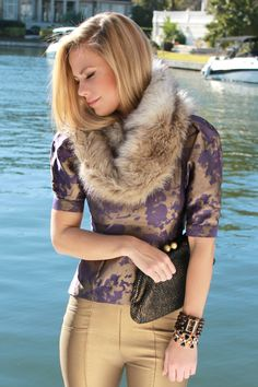 fur snood, print peplum, gold leather pants on theBsoup.com
