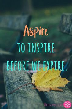Aspire to inspire before we expire. #aspire #inspiration #dailyinspiration #inspiringquotes #motivationalquotes #beinspired #quotes #memes  Download your FREE eBook copy on My guide to feeling Beautiful: https://beautiful.darviny.com