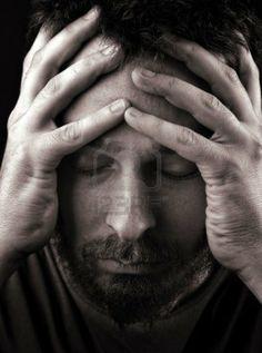 Closeup portrait of sad depressed and lonely man