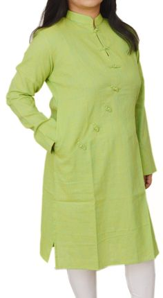 Pear Green Robe Cut Loop-Knot Corporate Kurta