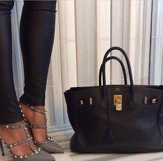 valentino rockstuds and hermes birkin Hermes Birkin, Birkin Bags, My Bags, Purses And Bags, Valentino Shoes, Handbag Accessories, Shoe Bag, Chic, My Style
