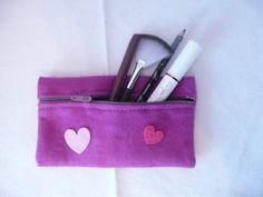 Purple Felt purse Purple pencil case with hearts by Hermitinas