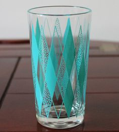 Vintage turquoise diamond tumbler by TheLadenBranch on Etsy, $7.00