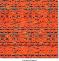 Tribal ethnic seamless pattern with geometric elements. - Artwork - Art Print from FreeArt.com