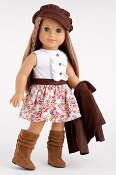 DreamWorld Collections Urban Explorer - Brown Motorcycle Jacket with Paperboy Hat, Dress and Boots - 18 Inch American Girl Doll Clothes : Ca...