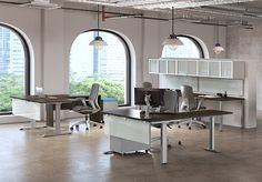 L shapes with height adj desks.  Wall mounted storage available with tackboards and any other storage components you need.  Made in Western Canada.  Contact margie@inspireyourspace.ca for more information on heartwoods options to fit your budget and style. Office Furniture, Furniture Design, Western Canada, L Shape, Desks, Your Space, Wall Mount, Budget, Storage