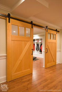 Interior Sliding Craftsman Traditional Doors with Classic Flat Track look beautiful together in this home.