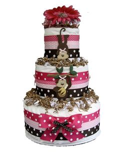 Monkey Around Pink/Brown Diaper Cake. Baby Shower Parties, Baby Showers, Baby Shower Gifts, Baby Gifts, Monkey Diaper Cakes, Nappy Cakes, Cupcake Cakes, Cupcakes, Shower Inspiration
