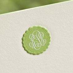 Bespoke Stationery   Ecru Card with Plain Edges and Apple Green and White Monogram. The Printery.