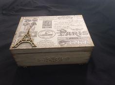 Caixa Paris -Arte com decoupage,shipboard ,patina envelhecida e stencil em auto relevo