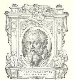 """Autoritratto inciso di Giorgio Vasari sul frontespizio della prima edizione delle """"Vite de' più eccellenti pittori scultori e architettori"""", 1550. Sul sito Memofonte il testo completo anche dell'edizione del 1568"""