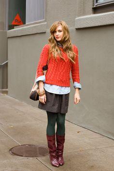 gray skirt, blouse, orange sweater, hunter green tights, cognac boots