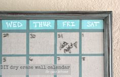diy wall calendar - annie sloan chalk painted frame and use ascp on painter's tape to create the lines